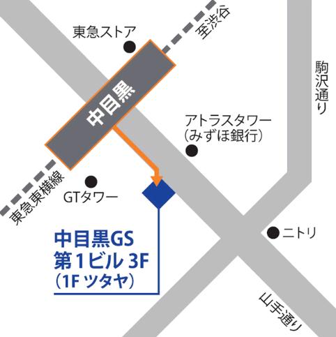 ベルリッツ中目黒ランゲージセンターのアクセスを説明した図