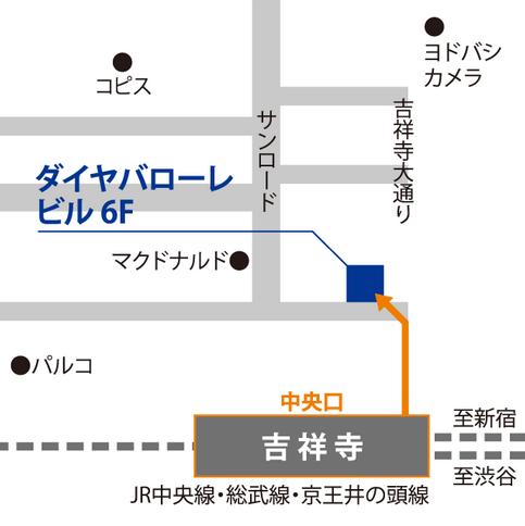 ベルリッツ吉祥寺ランゲージセンターのアクセスを説明した図