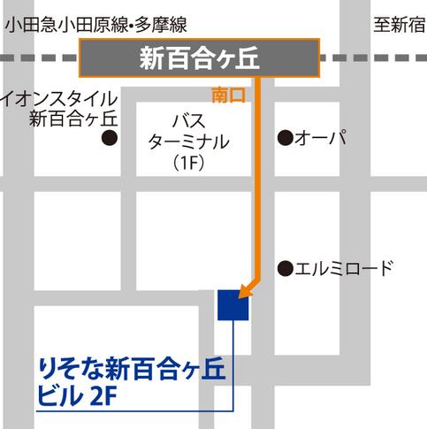 ベルリッツ新百合ヶ丘ランゲージセンターのアクセスを説明した図