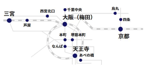 関西のベルリッツ教室所在地を示した図